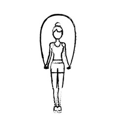 Figure woman jumping to do exercise vector