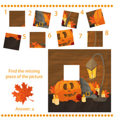 Find missing piece - puzzle game with pumpkins vector