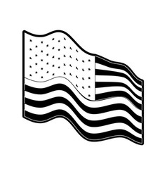 flag united states of america waving side in vector image