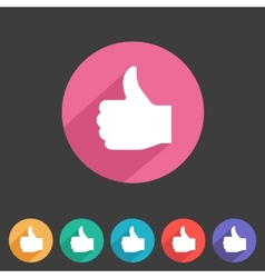 Flat game graphics icon thumbs up vector image