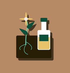 Flat icon design collection plant with bottle in vector