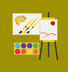 Flat icon on stylish background drawing lesson vector