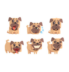 Flat set pug with different emotions vector