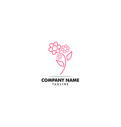 flower abstract logo design template linear style vector image