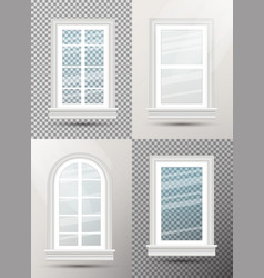 four closed realistic glass windows with shadows vector image