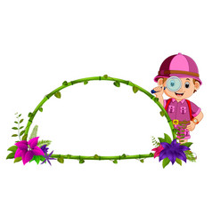 Frame of bamboo with flower and adventurer vector