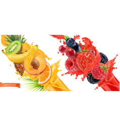 Fruit burst splash of juice sweet tropical fruits vector