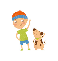 funny red-haired kid doing sports exercises with vector image