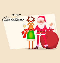 Funny santa claus in glasses and cute deer vector