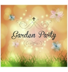 Garden party invitation vector