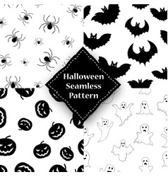 ghost pumpkin spider and bat seamless pattern vector image vector image