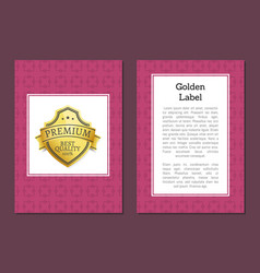 golden label quality award premium golden sticker vector image