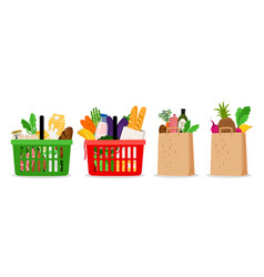 Grocery food basket vector