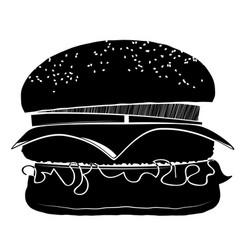 Hamburger with a chop cheese onions and tomatoes vector