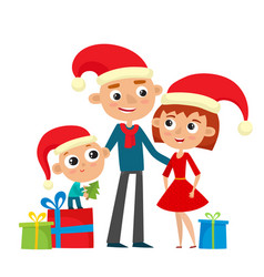 Happy family in red hat with gifts merry vector