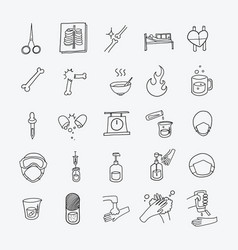 health doodle icons set drawing sketch hand drawn vector image