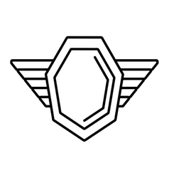 Hexagon shield protection badge winged outline vector