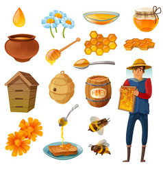 honey cartoon set vector image