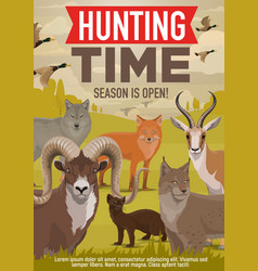 Hunting open season forest wild animals and birds vector