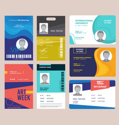 Id card template identification badge for male vector