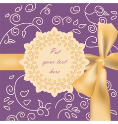 Invitation card with bow and ornaments vector