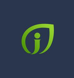 letter j eco leaves logo icon design template vector image