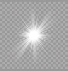 light rays shine radiance flash sun star effect vector image