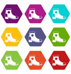 men boot icon set color hexahedron vector image
