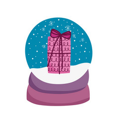 merry christmas celebration snowglobe with gift vector image