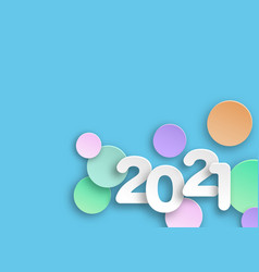 new year 2021 paper cutting colorful numbers vector image