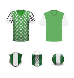Nigeria soccer jersey kit with team line up board vector