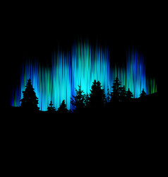 Northern lights forest silhouette against vector