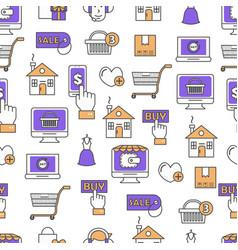 online shopping flat line art seamless vector image