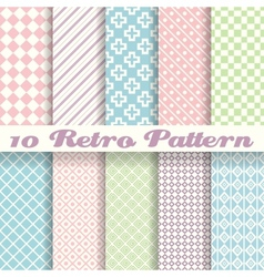 Pastel retro different seamless patterns tiling vector