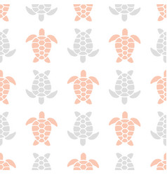 Pattern with pink and gray turtles vector