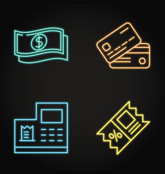 Payment and discount neon icon set in line style vector