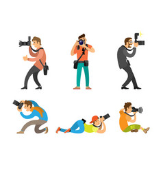 Photographers and paparazzi with photo cameras vector