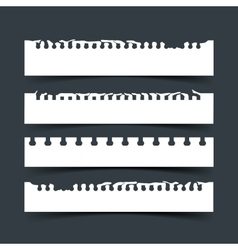 Pieces of white notebook paper on dark vector