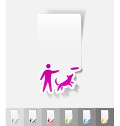 Realistic design element playing with a dog vector