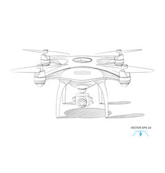 Realistic quad copter air drone with camera vector