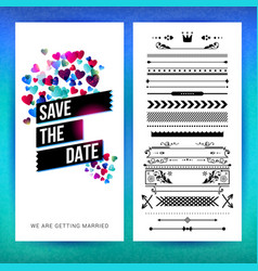 rectangular save date heart graphics image vector image