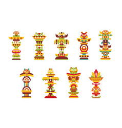 religious totem set colorful native cultural vector image
