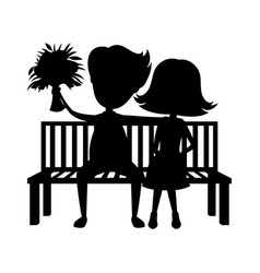 romantic couple sitting on a bench vector image