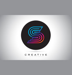 s blue purple letter logo design colorful modern vector image