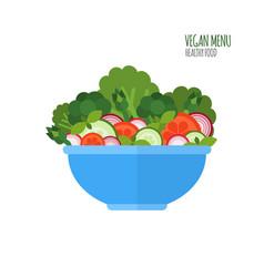 Salad bowl salad ingredients vegan menu food vector