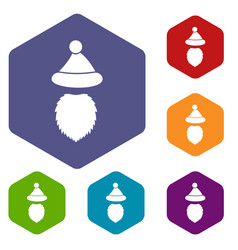 santa claus hat and beard icons set vector image