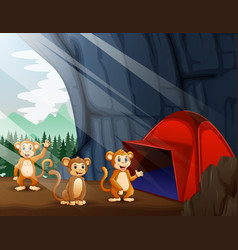Scene with camping tent and three monkeys vector
