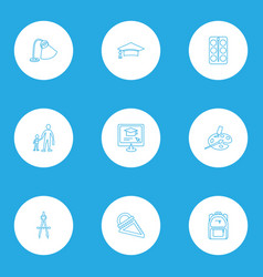 school icons line style set with art school vector image