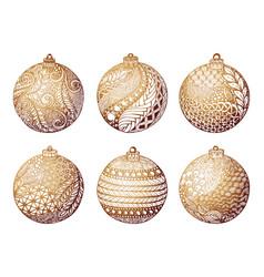 set gold christmas ball hand-drawn design vector image
