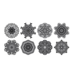 set of 8 circle paisley pattern to winter vector image